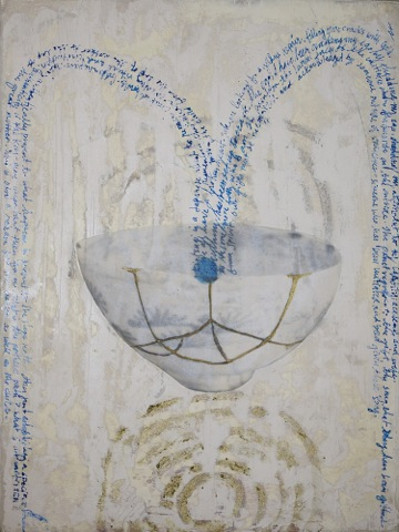 "Kintsugi 2 by Debra Goldman acrylic paint & encaustic on board, 24""x18"", 2015"