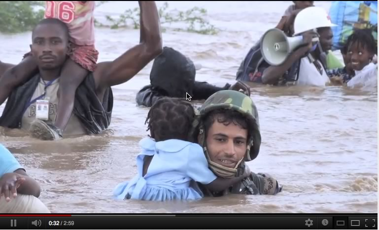 Climate Change Refugees Crossing River