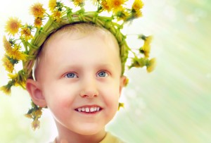 boy with dandelion crown